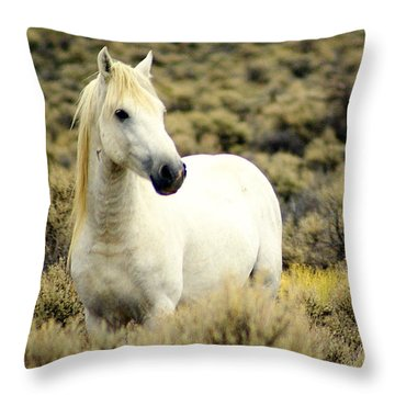 Nevada Wild Horses 3 Throw Pillow by Marty Koch