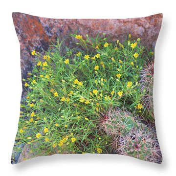 Throw Pillow featuring the photograph Nevada Yellow Wildflower by Linda Phelps