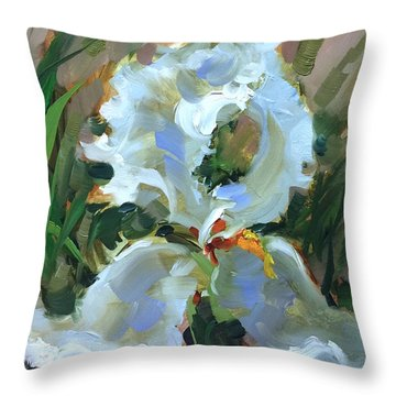 Never Broken White Iris Throw Pillow by Nancy Medina
