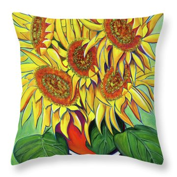 Never Enough Sunflowers Throw Pillow by Andrea Folts