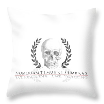 Never Fear The Shadows Stoic Skull With Laurels Throw Pillow