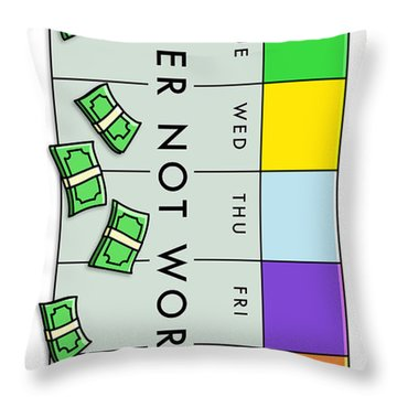 Never Not Working Color Throw Pillow