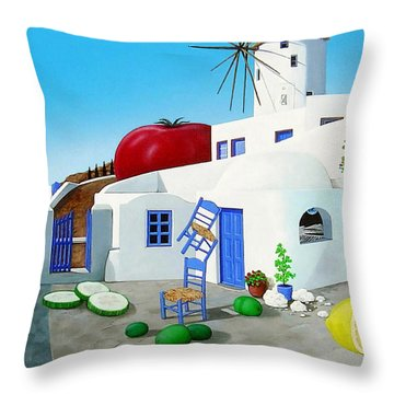Never On Tuesday Throw Pillow by Snake Jagger