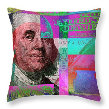 New 2009 Series Pop Art Colorized Us One Hundred Dollar Bill  No. 3 Throw Pillow