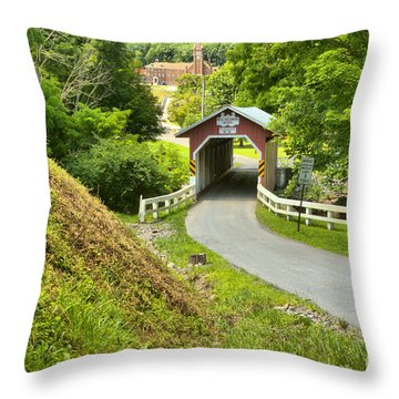 New Baltimore Covered Bridge Through The Forest Throw Pillow