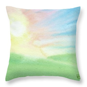 Throw Pillow featuring the painting New Beginnings by Betsy Hackett