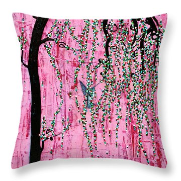 Throw Pillow featuring the painting New Beginnings by Natalie Briney