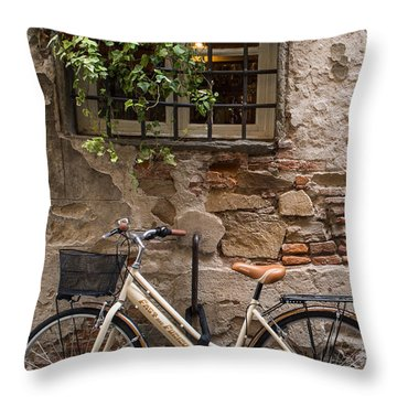 New Bike In Old Lucca Throw Pillow
