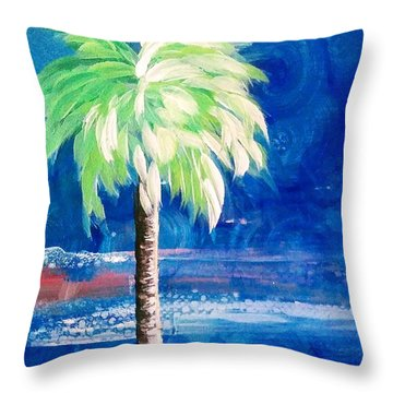 New Blue Horizons Palm Tree Throw Pillow