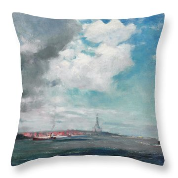 New Brighton From The Mersey Throw Pillow by JH Hay