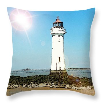 New Brighton Lighthouse Throw Pillow