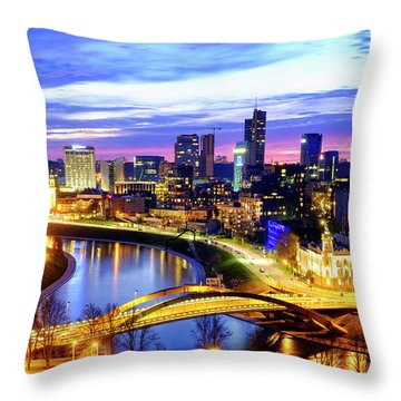 Throw Pillow featuring the photograph New Center Of Vilnius by Fabrizio Troiani