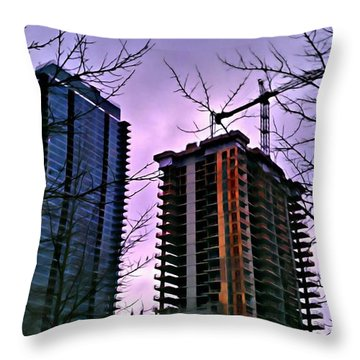 New Construction, Two Towers Throw Pillow