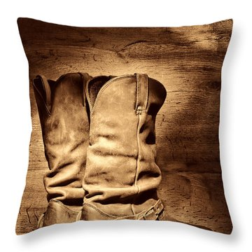New Cowboy Boots Throw Pillow
