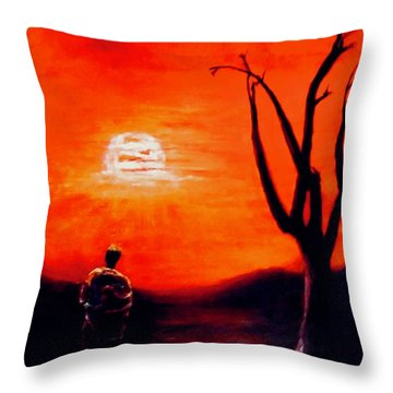 Throw Pillow featuring the painting New Day by Sher Nasser