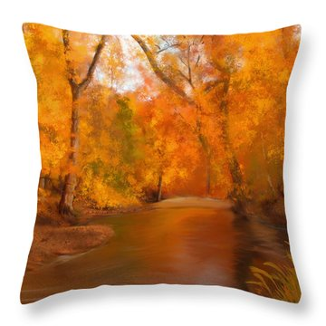 New England Autumn In The Woods Throw Pillow