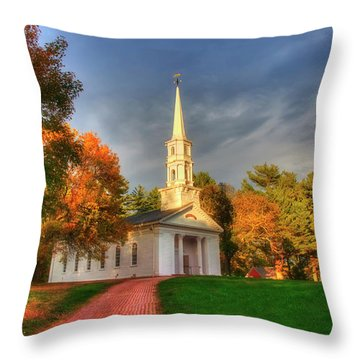 Throw Pillow featuring the photograph New England Autumn - White Chapel by Joann Vitali