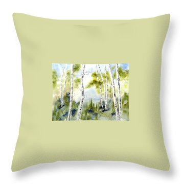 New England Birches Throw Pillow