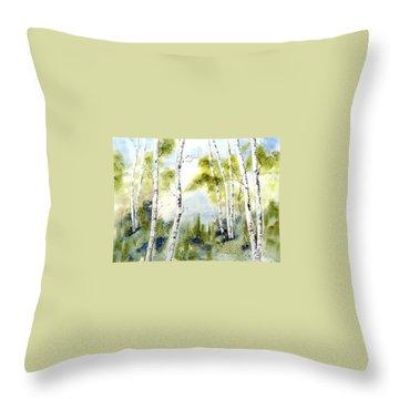 New England Birches Throw Pillow
