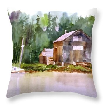 New England Boat Repair Throw Pillow