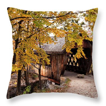 New England College No. 63 Covered Bridge  Throw Pillow