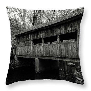 New England Covered Bridge Throw Pillow