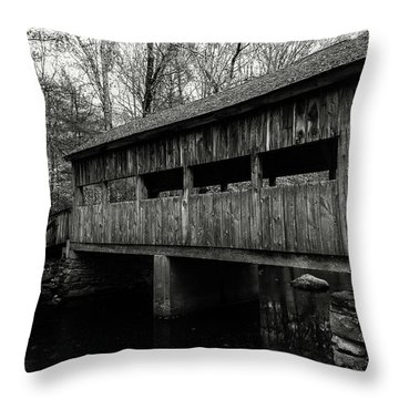New England Covered Bridge Throw Pillow