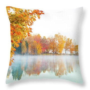 New England Fall Colors Of Maine Throw Pillow