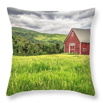 New England Farm Landscape Throw Pillow