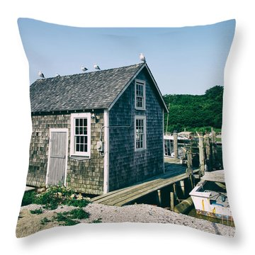 New England Fishing Cabin Throw Pillow by Mark Miller