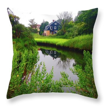 New England House And Stream Throw Pillow