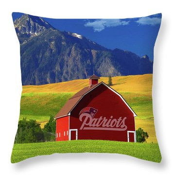 Throw Pillow featuring the photograph New England Patriots Barn by Movie Poster Prints