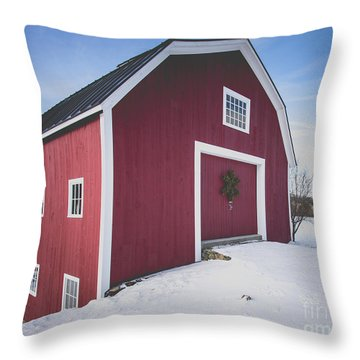 Throw Pillow featuring the photograph New England Red Barn Winter Orford by Edward Fielding