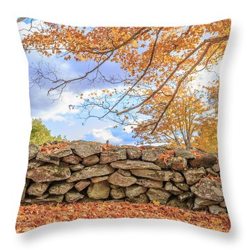 New England Stone Wall With Fall Foliage Throw Pillow