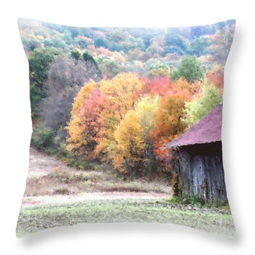 New England Tobacco Barn In Watercolor Throw Pillow