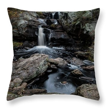 New England Waterfall In Autumn Throw Pillow