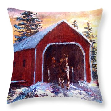Throw Pillow featuring the painting New England Winter Crossing by Jack Skinner