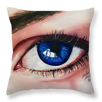 Throw Pillow featuring the painting New Eyes by Michal Madison