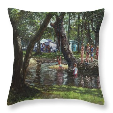 New Forest Camping Fun Throw Pillow