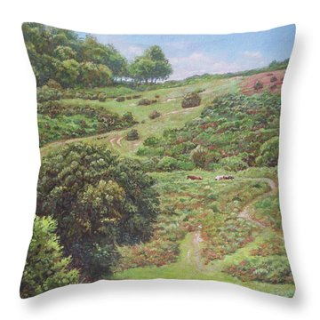 Throw Pillow featuring the painting New Forest Hill With Cows And Horses by Martin Davey