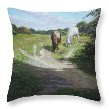 New Forest Horses With Light And Shade  Throw Pillow