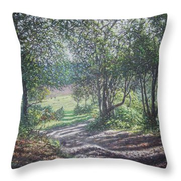 New Forest Path In Summer Evening Throw Pillow