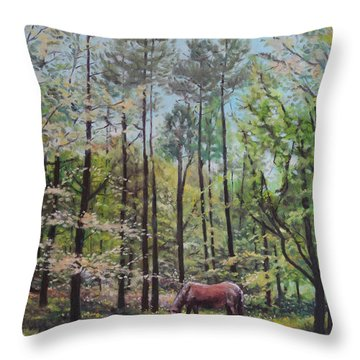 New Forest With Horse In Light  Throw Pillow
