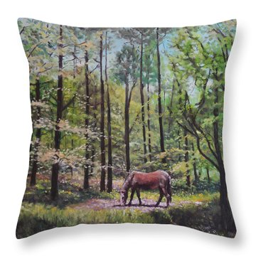 Throw Pillow featuring the painting New Forest With Horse In Light  by Martin Davey