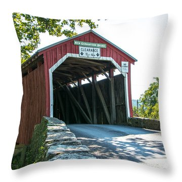 New Germantown Covered Bridge Throw Pillow