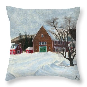 New Hampshire Farm In Winter Throw Pillow