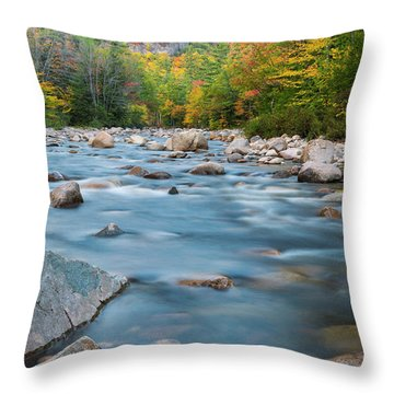 New Hampshire Swift River And Fall Foliage In Autumn Throw Pillow