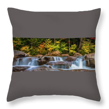 New Hampshire White Mountains Swift River Waterfall In Autumn With Fall Foliage Throw Pillow by Ranjay Mitra