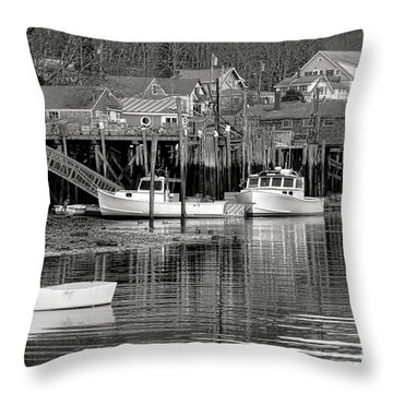 Throw Pillow featuring the photograph New Harbor Docks by Olivier Le Queinec