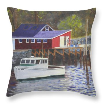 New Harbor Sunrise Throw Pillow